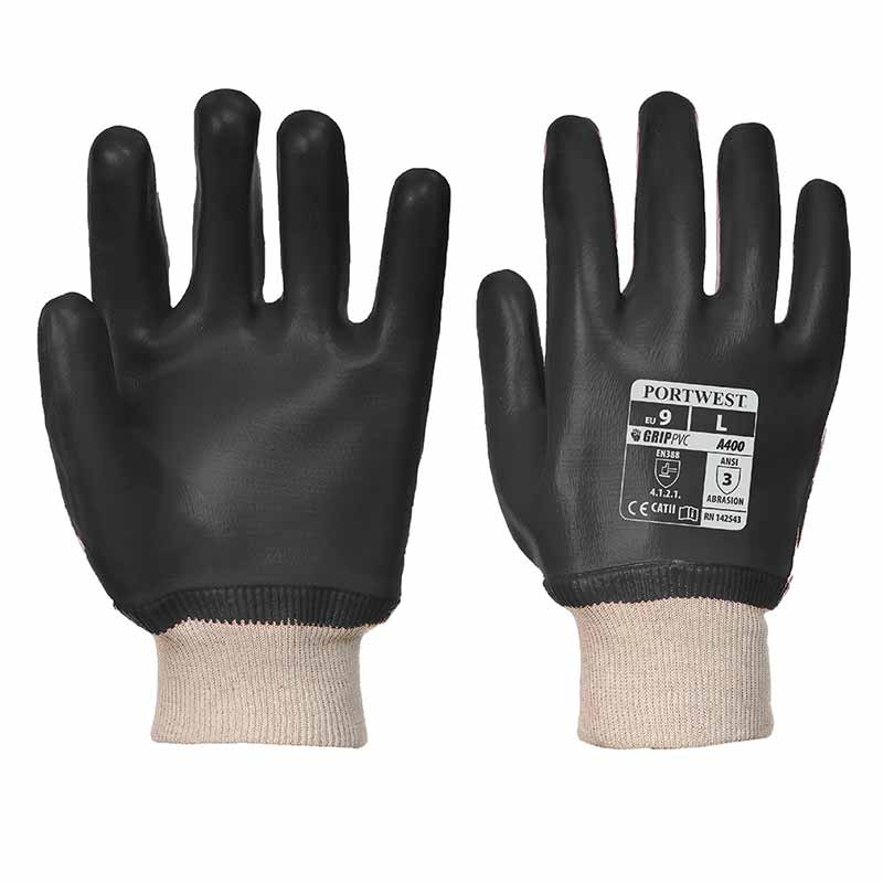 Superb Abrasion PVC Knitwrist Gloves - WGLA400-black