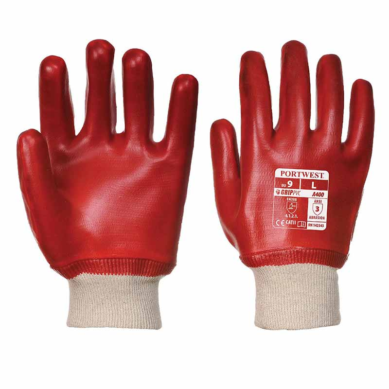 Superb Abrasion PVC Knitwrist Gloves - WGLA400-red