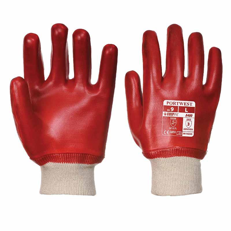 Superb Abrasion PVC Knitwrist Gloves - WGLA400-red