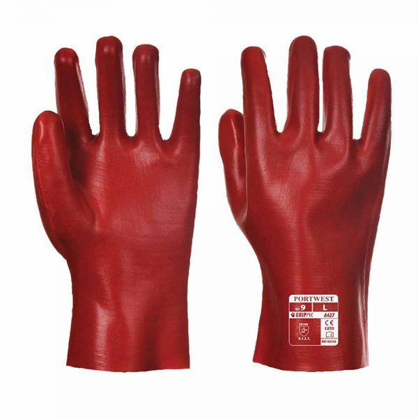 Fully Coated PVC Guantlet Glove - WGLA427-red