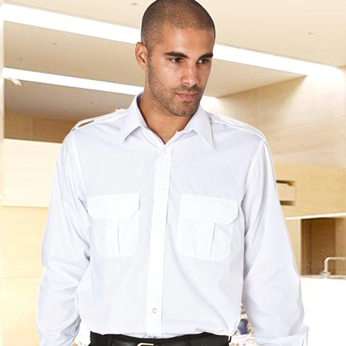 110gsm 65/35 PC PILOT Shirt Long Sleeve - WSHA03 -white