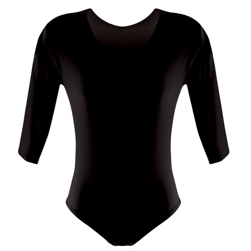 Girls' Hi-Stretch Shiny Long Sleeved Leotards-DLTG02S-black