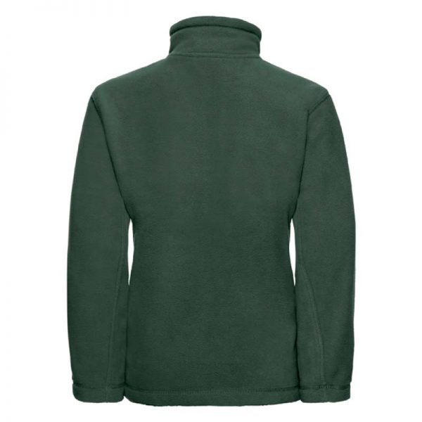Kids Heavy Full Zip Outdoor Fleece - JFK870-bottle-green-back