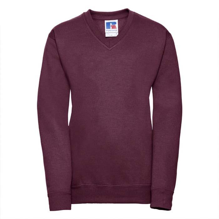 Kids V-Neck Set-In Sweatshirt - JSK272-burgundy