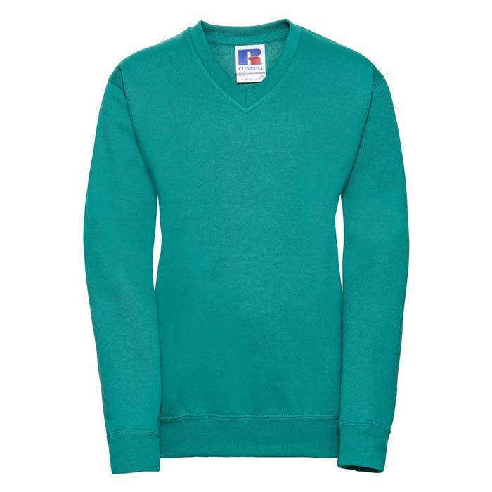 Kids V-Neck Set-In Sweatshirt - JSK272-emerald