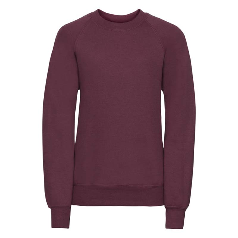 Kids Classic Raglan Crew Sweatshirt - JSK762-burgundy