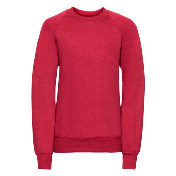 Kids Classic Raglan Crew Sweatshirt - JSK762-red