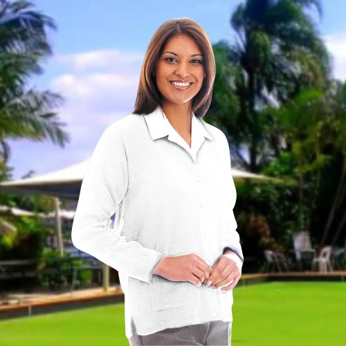 300g 100% Acrylic Ladies V-Neck Knitted Bowling Cardigan - PCAL01-white