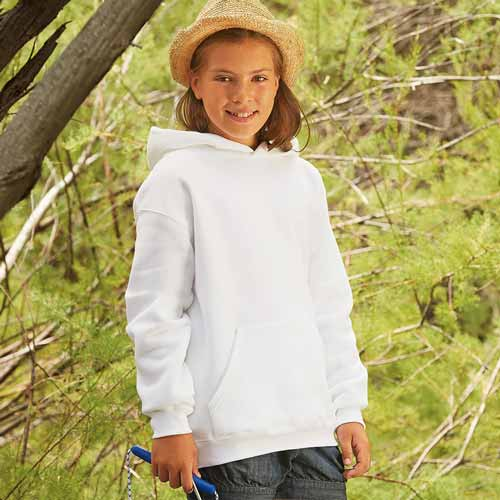 Kids Set-In Hooded Sweatshirt - SSHK-white-model