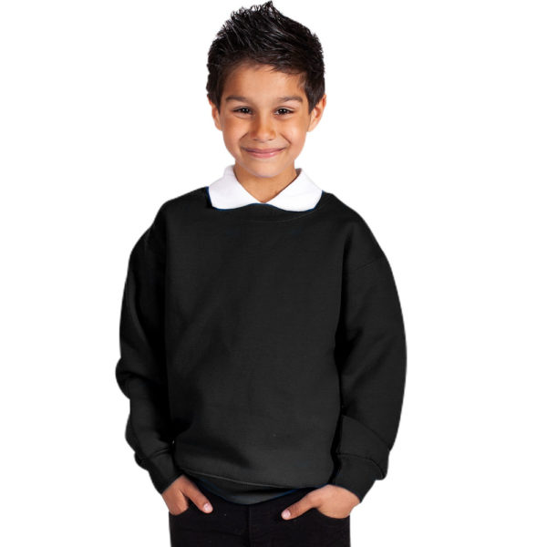 Kids Premium Hi-Spec Set-In Crew Sweatshirt TSK01-black