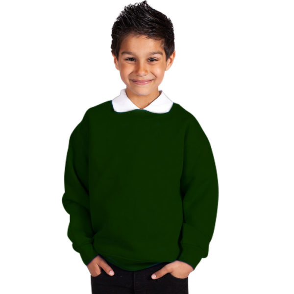 Kids Premium Hi-Spec Set-In Crew Sweatshirt TSK01-bottle-green