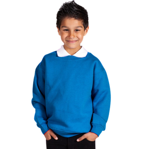Kids Premium Hi-Spec Set-In Crew Sweatshirt TSK01-electric-blue