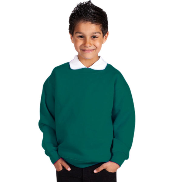 Kids Premium Hi-Spec Set-In Crew Sweatshirt TSK01-forrest-green