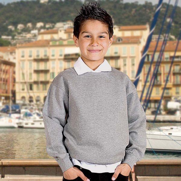 Kids Premium Hi-Spec Set-In Crew Sweatshirt TSK01-heather-grey