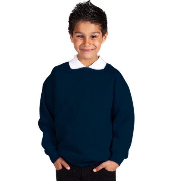 Kids Premium Hi-Spec Set-In Crew Sweatshirt TSK01-navy