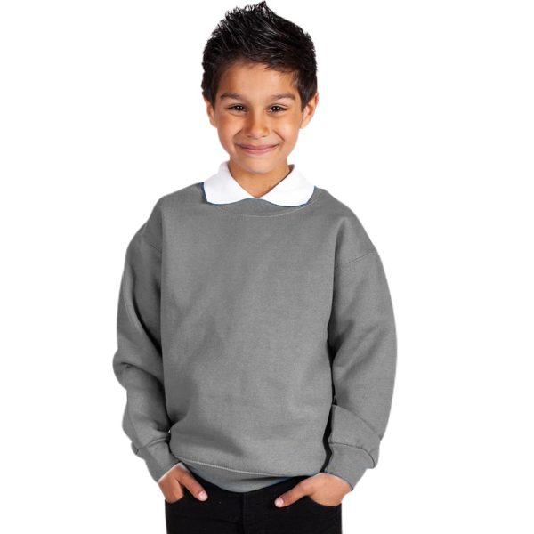 Kids Premium Hi-Spec Set-In Crew Sweatshirt TSK01-school-grey
