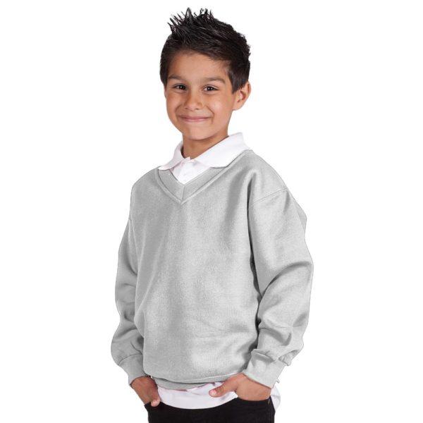 Kids Premium V-Neck Set-In Sweatshirt TSK02-ash-hrey
