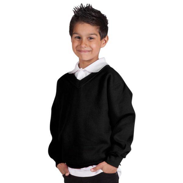Kids Premium V-Neck Set-In Sweatshirt TSK02-black