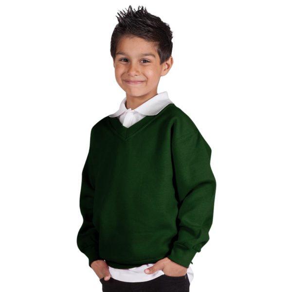 Kids Premium V-Neck Set-In Sweatshirt TSK02-bottle-green