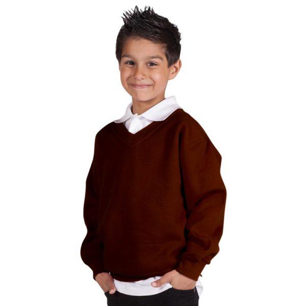 Kids Premium V-Neck Set-In Sweatshirt TSK02-brown