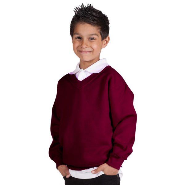 Kids Premium V-Neck Set-In Sweatshirt TSK02-burgundy