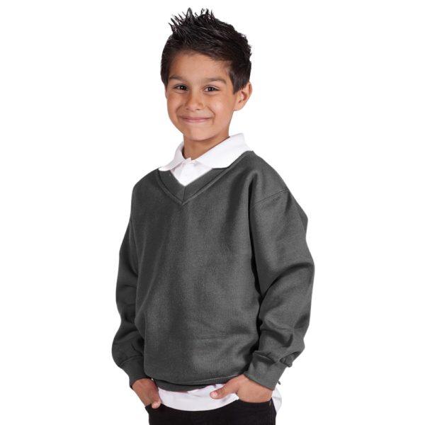 Kids Premium V-Neck Set-In Sweatshirt TSK02-charcoal