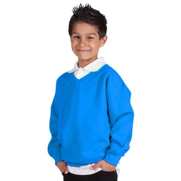 Kids Premium V-Neck Set-In Sweatshirt TSK02-electric-blue