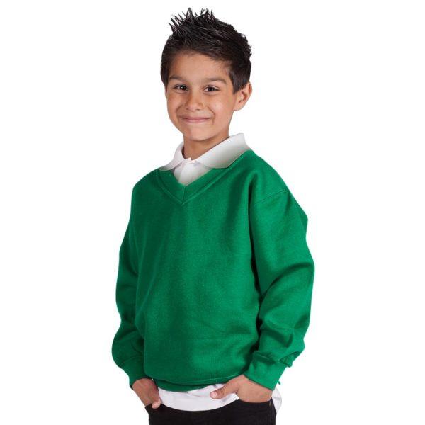 Kids Premium V-Neck Set-In Sweatshirt TSK02-forest-green
