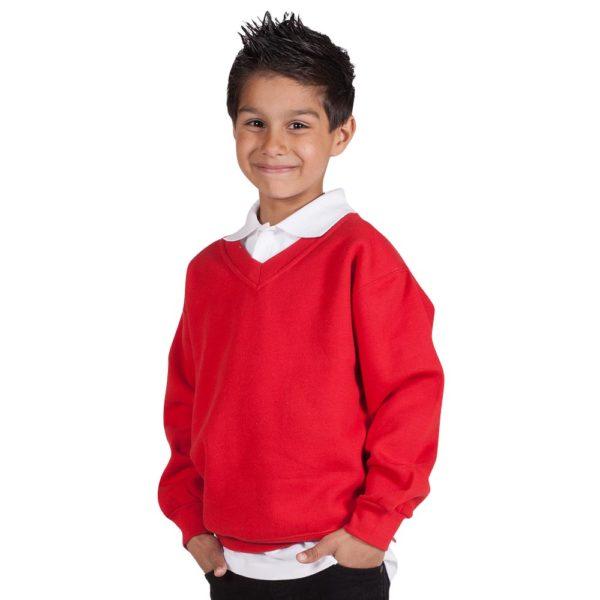 Kids Premium V-Neck Set-In Sweatshirt TSK02-red