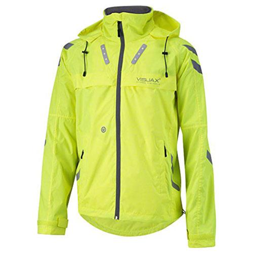 LED Hi-Vis 'Highlight Hooded' Cyclist Equestrian Jacket Yellow