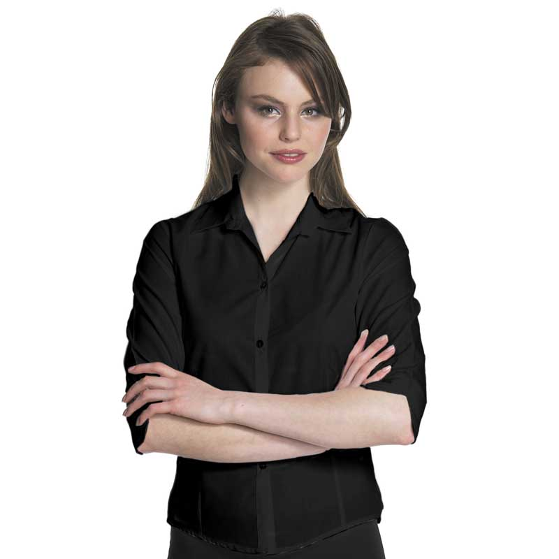 102gsm Ladies Easy-Care Fitted Blouse 3/4 Sleeve - CBLL03-black