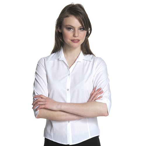 102gsm Ladies Easy-Care Fitted Blouse 3/4 Sleeve - CBLL03-white