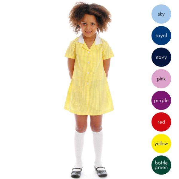 72% Polyester / 28% Viscose Girls Gingham Check Dress CDRK01