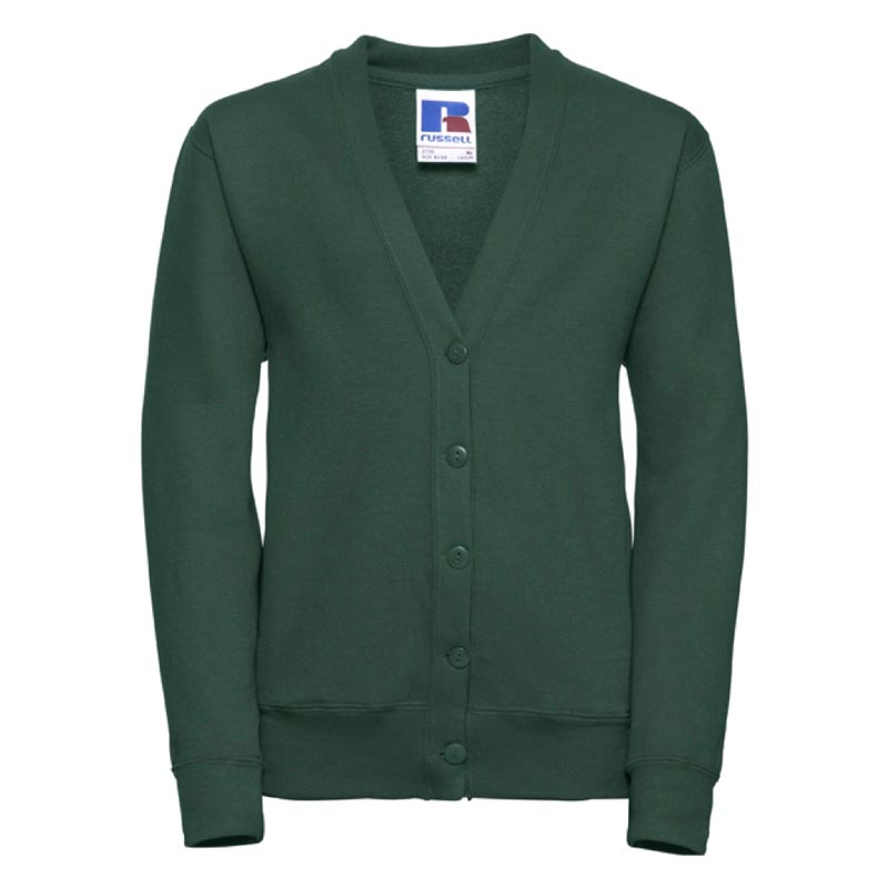 295g 50/50 PC Girls Sweatshirt Cardigan - JCK273-bottle-green