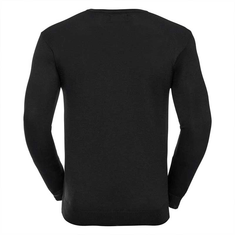 275g 50/50 Cotton-Acrylic V-Neck Knitted Pullover - JJUA710-black-back