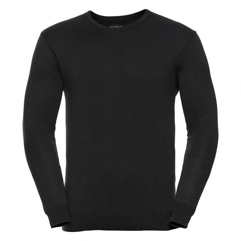 275g 50/50 Cotton-Acrylic V-Neck Knitted Pullover - JJUA710-black