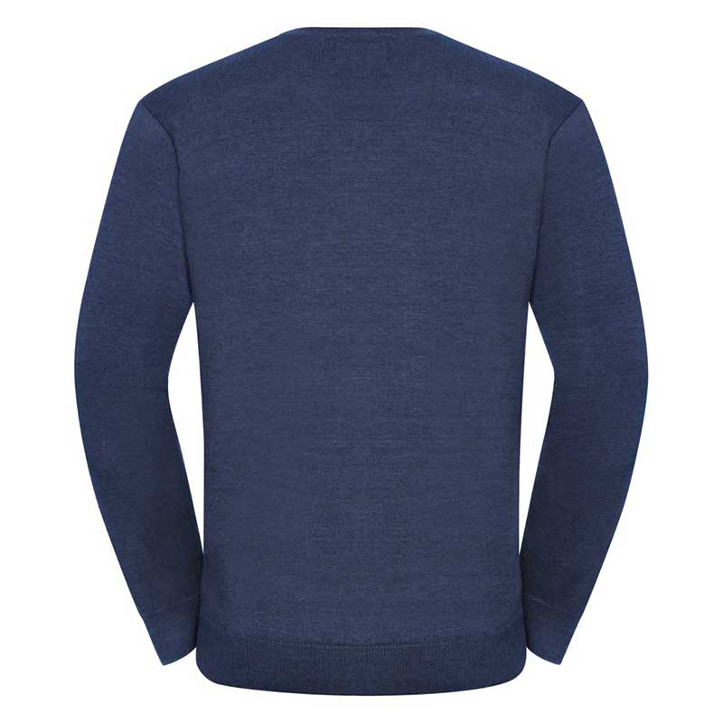 275g 50/50 Cotton-Acrylic V-Neck Knitted Pullover - JJUA710-denim0back