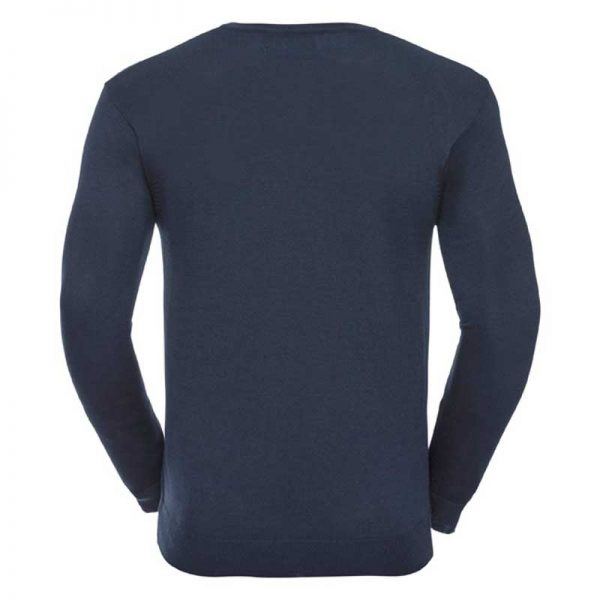 275g 50/50 Cotton-Acrylic V-Neck Knitted Pullover - JJUA710-french-navy-back