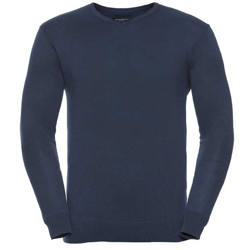 275g 50/50 Cotton-Acrylic V-Neck Knitted Pullover - JJUA710-french-navy