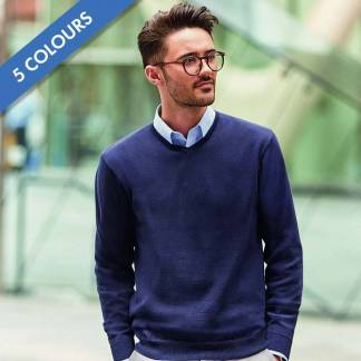 275g 50/50 Cotton-Acrylic V-Neck Knitted Pullover - JJUA710