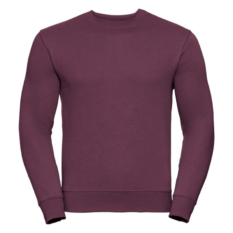280gsm 80/20 CP Mens Set-In Comfort Authentic Crew Sweat Long Sleeve - JSA262-burgundy