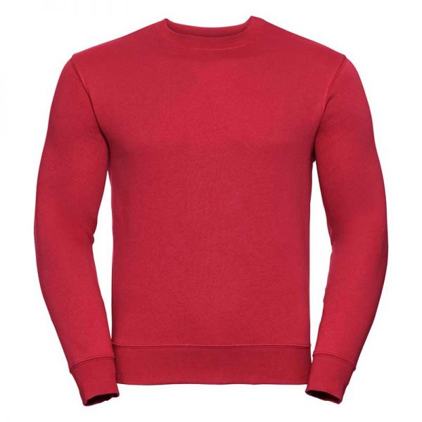 280gsm 80/20 CP Mens Set-In Comfort Authentic Crew Sweat Long Sleeve - JSA262-red