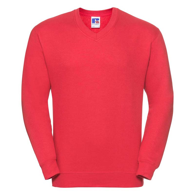 295g 50/50PC Mens V-neck Set-in Sweatshirt - JSA272-birght-red