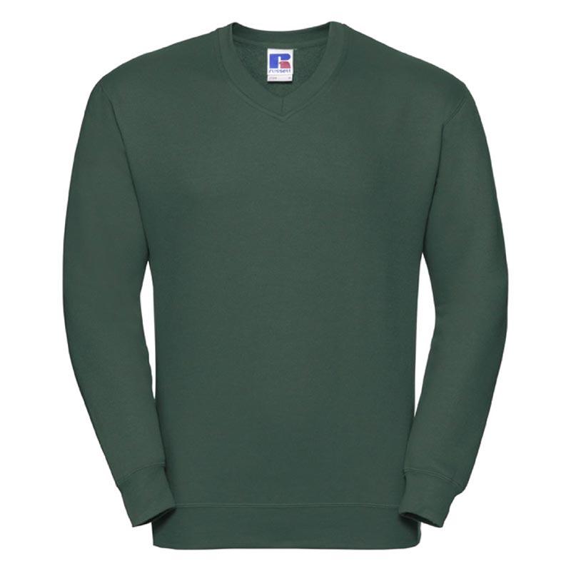 295g 50/50PC Mens V-neck Set-in Sweatshirt - JSA272-bottle-green