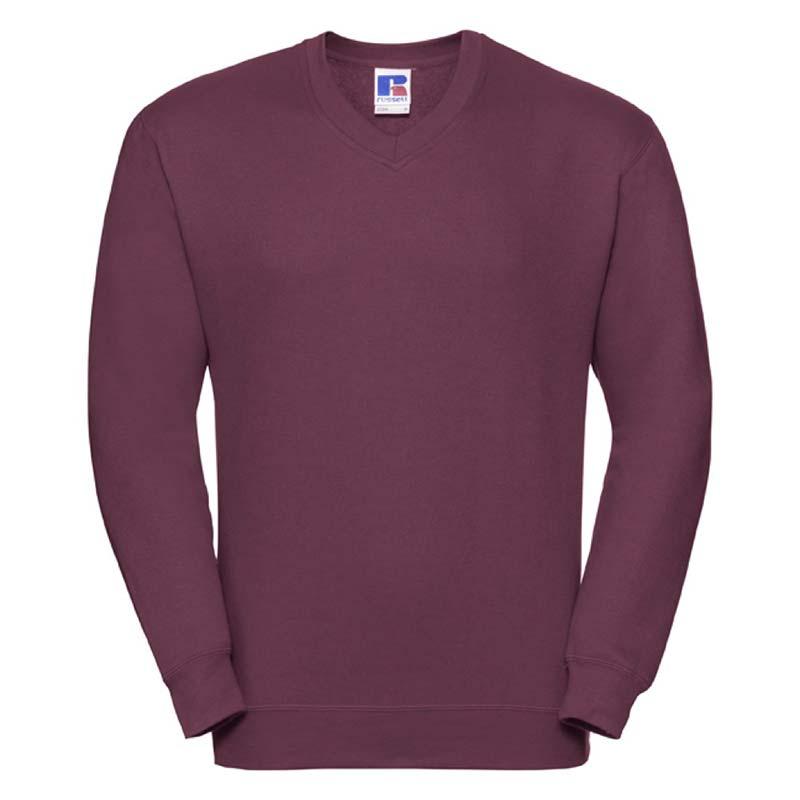 295g 50/50PC Mens V-neck Set-in Sweatshirt - JSA272-burgundy