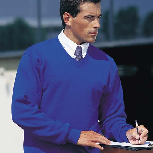 295g 50/50PC Mens V-neck Set-in Sweatshirt - JSA272