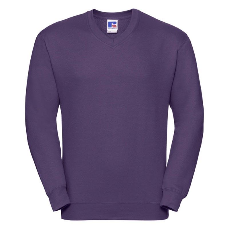 295g 50/50PC Mens V-neck Set-in Sweatshirt - JSA272-purple