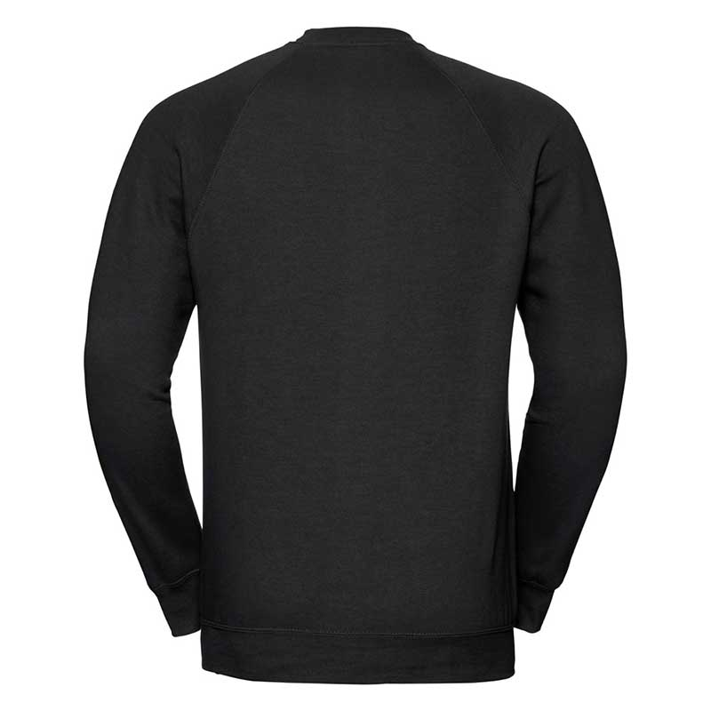 295gsm 50/50 CP Mens Classic Raglan Crew Sweat Long Sleeve - JSA762-black-back