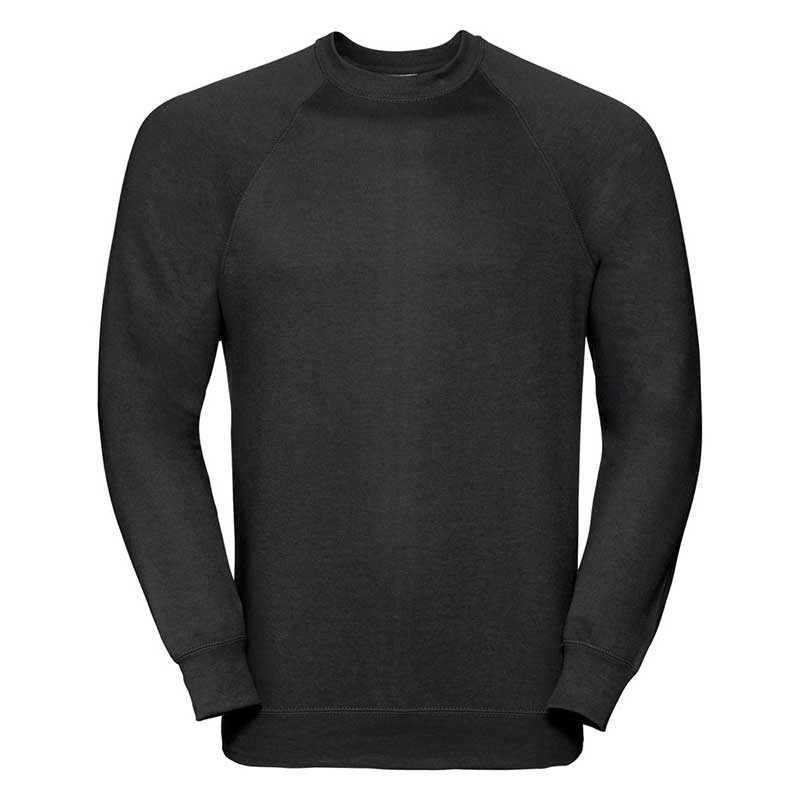 295gsm 50/50 CP Mens Classic Raglan Crew Sweat Long Sleeve - JSA762-black