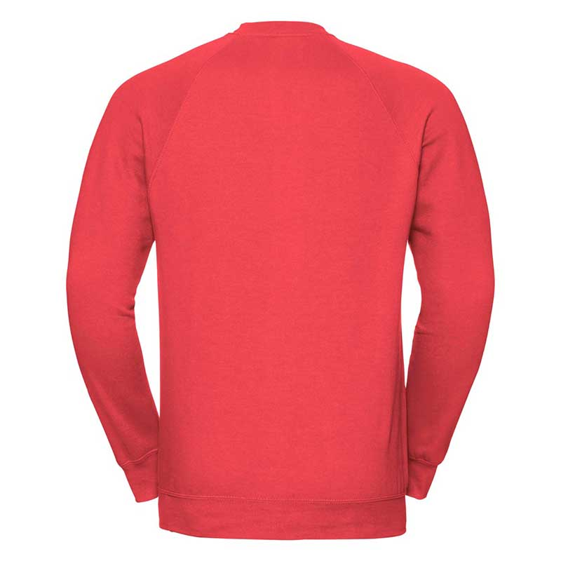 295gsm 50/50 CP Mens Classic Raglan Crew Sweat Long Sleeve - JSA762-bright-red-back